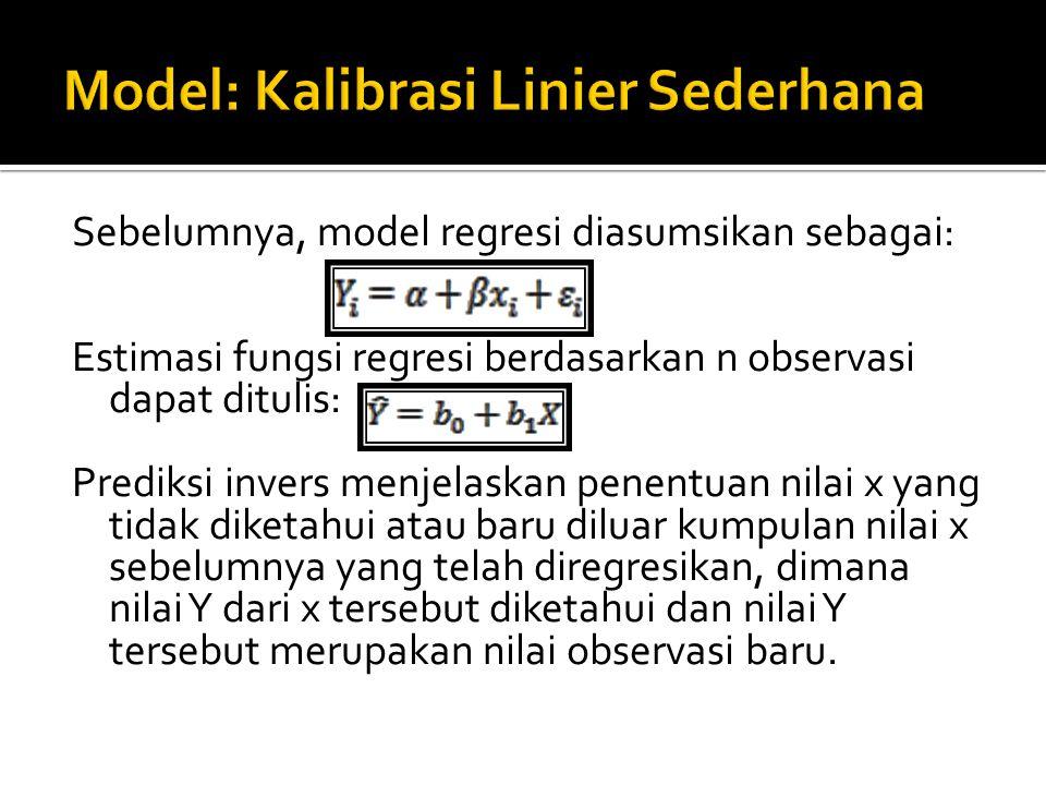 Model inverse prediction ditulis : Dengan ialah nilai x baru yang akan di prediksi dan yaitu nilai Y baru dari x yang akan diprediksi.