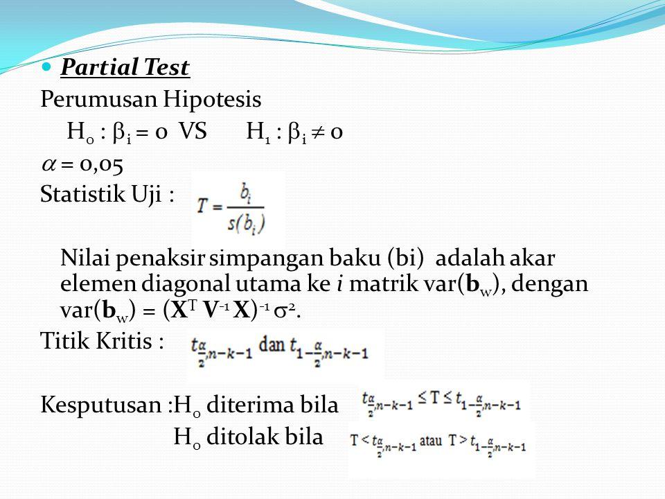 Partial Test Perumusan Hipotesis H 0 :  i = 0 VS H 1 :  i  0  = 0,05 Statistik Uji : Nilai penaksir simpangan baku (bi) adalah akar elemen diagonal utama ke i matrik var(b w ), dengan var(b w ) = (X T V -1 X) -1  2.