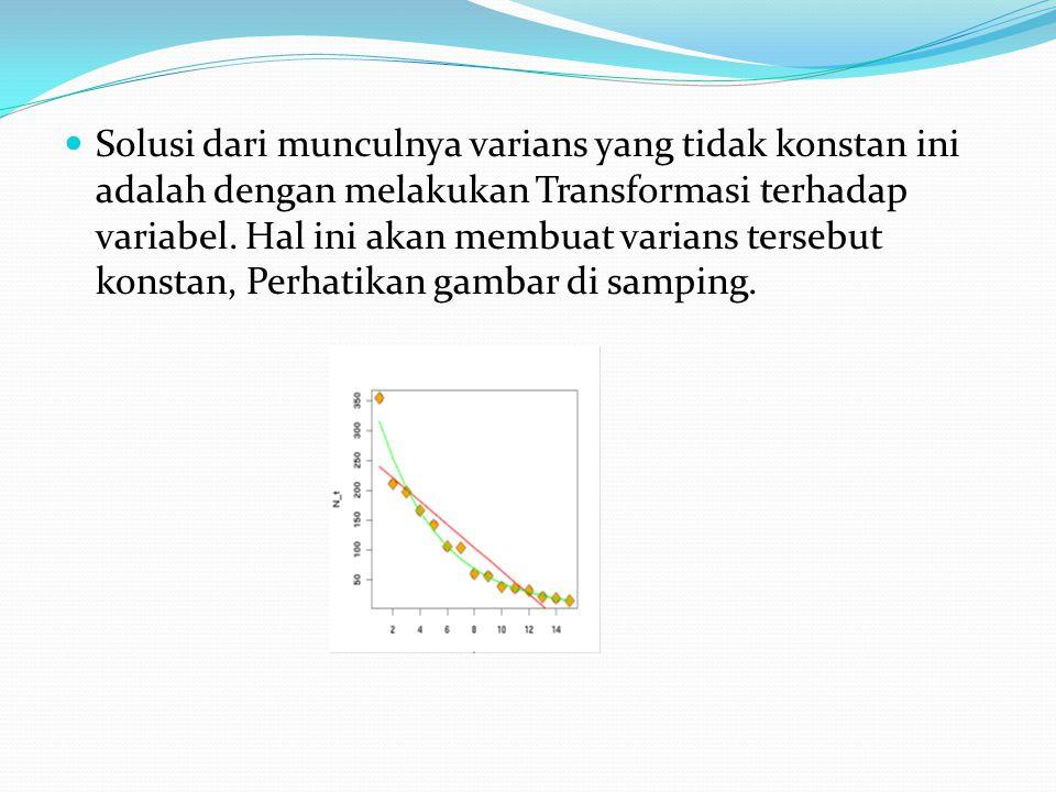 Solusi dari munculnya varians yang tidak konstan ini adalah dengan melakukan Transformasi terhadap variabel.