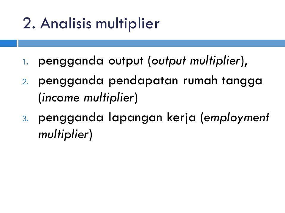 2. Analisis multiplier 1. pengganda output (output multiplier), 2. pengganda pendapatan rumah tangga (income multiplier) 3. pengganda lapangan kerja (