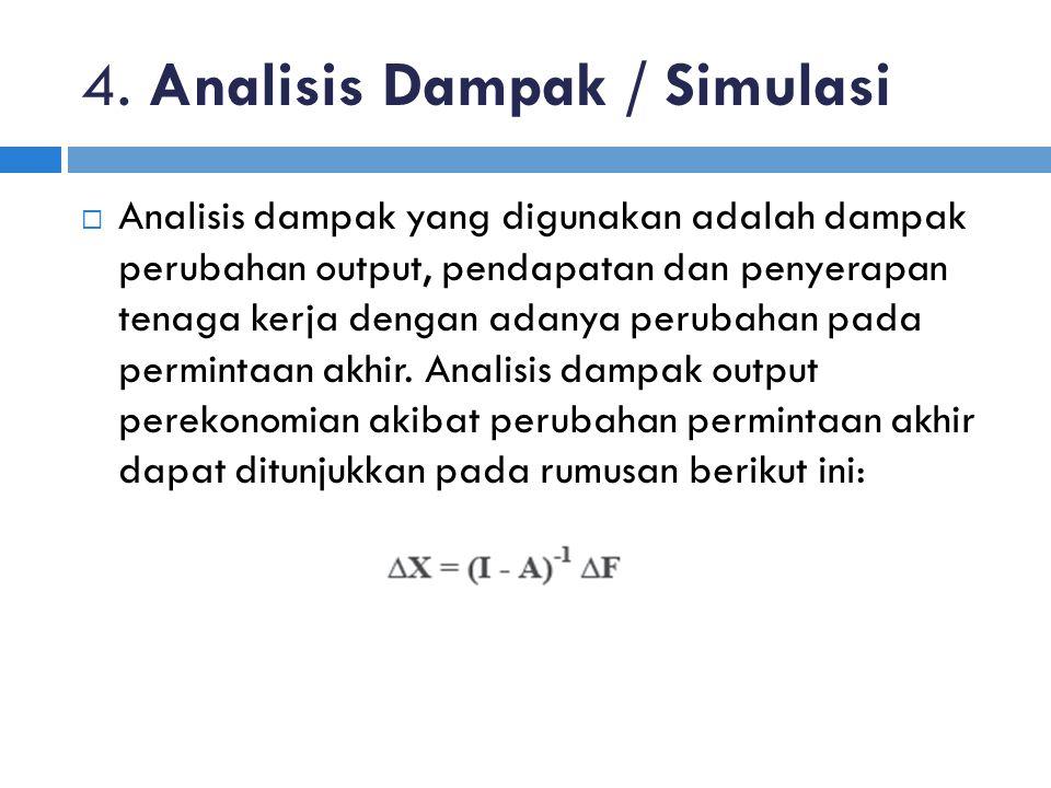 4. Analisis Dampak / Simulasi  Analisis dampak yang digunakan adalah dampak perubahan output, pendapatan dan penyerapan tenaga kerja dengan adanya pe