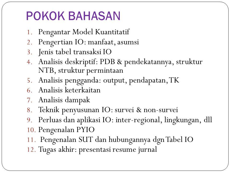 1. Pengantar Model Kuantitatif 2. Pengertian IO: manfaat, asumsi 3. Jenis tabel transaksi IO 4. Analisis deskriptif: PDB & pendekatannya, struktur NTB