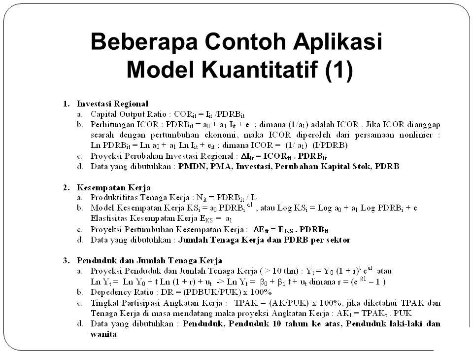 6 Beberapa Contoh Aplikasi Model Kuantitatif (1)