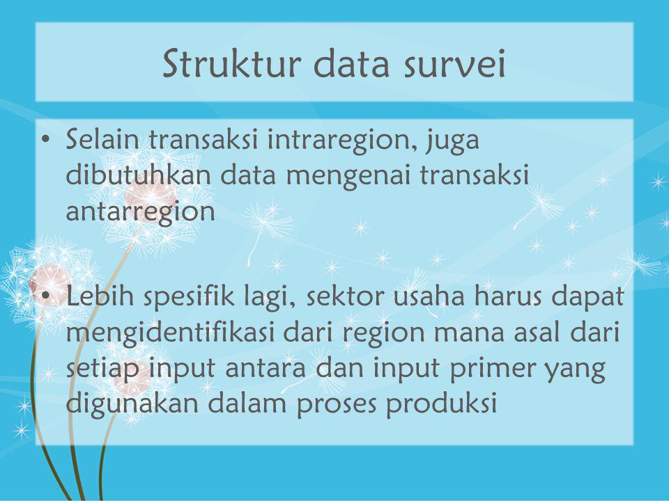 Struktur data survei Selain transaksi intraregion, juga dibutuhkan data mengenai transaksi antarregion Lebih spesifik lagi, sektor usaha harus dapat m