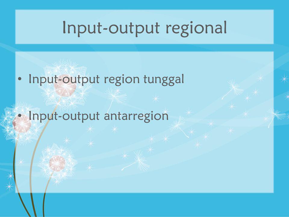 Input-output regional Input-output region tunggal Input-output antarregion