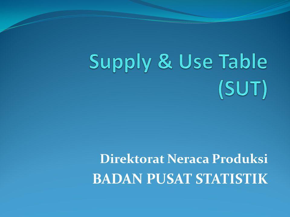 Supply table Komoditi Lapangan UsahaPenyediaan (supply) KLUI 1 …KLUI n Output domestik ImporTotal K1K1 K 11 …K 1n OK 1 MK 1 OK 1 +MK 1 =TSK 1 K2K2 K 21 …K 2n OK 2 MK 2 OK 2 +MK 2 =TSK 2 ………………… KmKm K m1 …K mn OK m MK m OK m +MK m =TSK m TotalO1O1 …OnOn ∑OK i ∑MK i ∑OK i +∑MK i =∑TSK i K = komoditi; KLUI = lapangan usaha/industri; OK = output komoditi; MK = impor komoditi; TSK = total supply; O = output industri