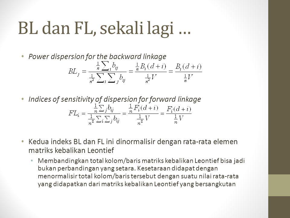 BL dan FL, sekali lagi … Power dispersion for the backward linkage Indices of sensitivity of dispersion for forward linkage Kedua indeks BL dan FL ini