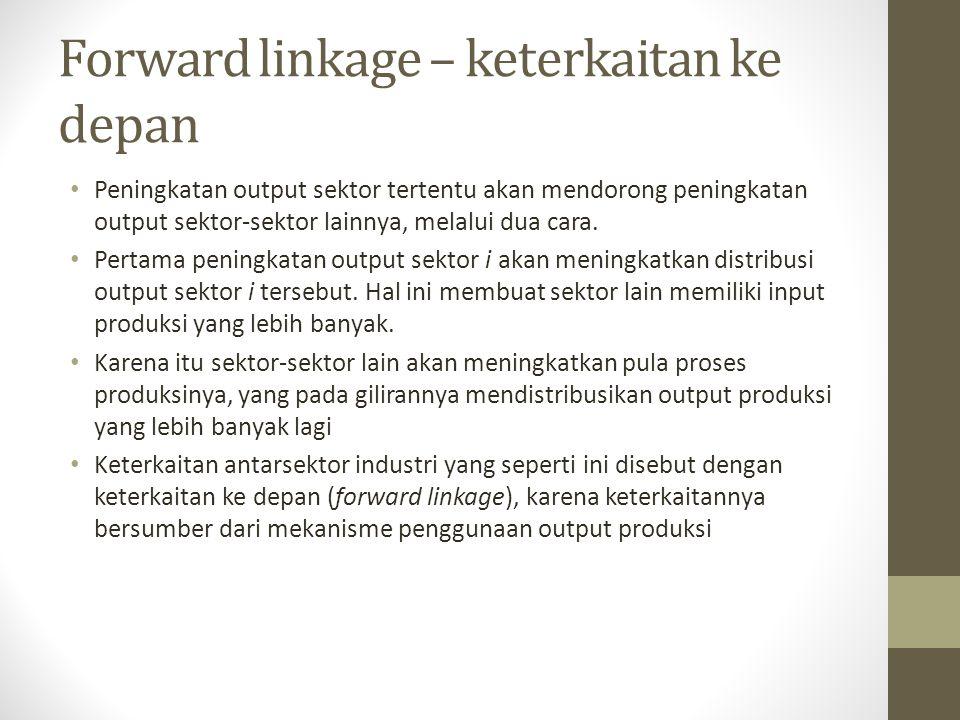 Forward linkage – keterkaitan ke depan Peningkatan output sektor tertentu akan mendorong peningkatan output sektor-sektor lainnya, melalui dua cara. P