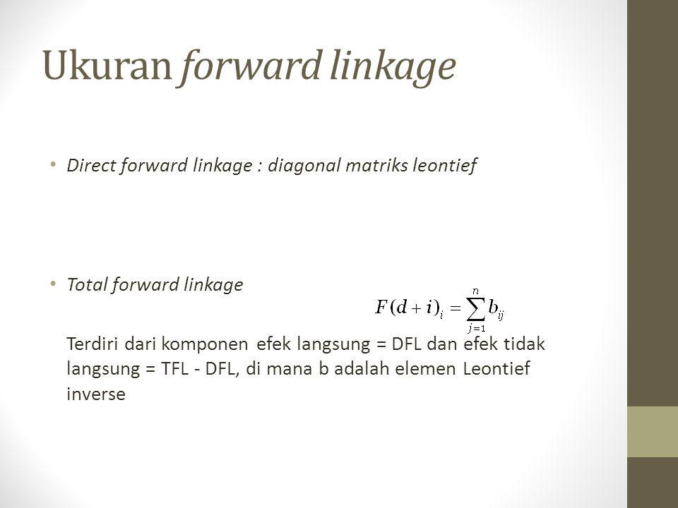 Ukuran forward linkage Direct forward linkage : diagonal matriks leontief Total forward linkage Terdiri dari komponen efek langsung = DFL dan efek tid