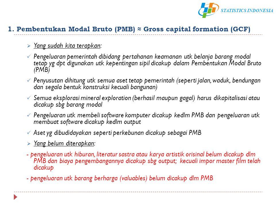 STATISTICS INDONESIA 1. Pembentukan Modal Bruto (PMB) ≈ Gross capital formation (GCF)  Yang sudah kita terapkan: Pengeluaran pemerintah dibidang pert