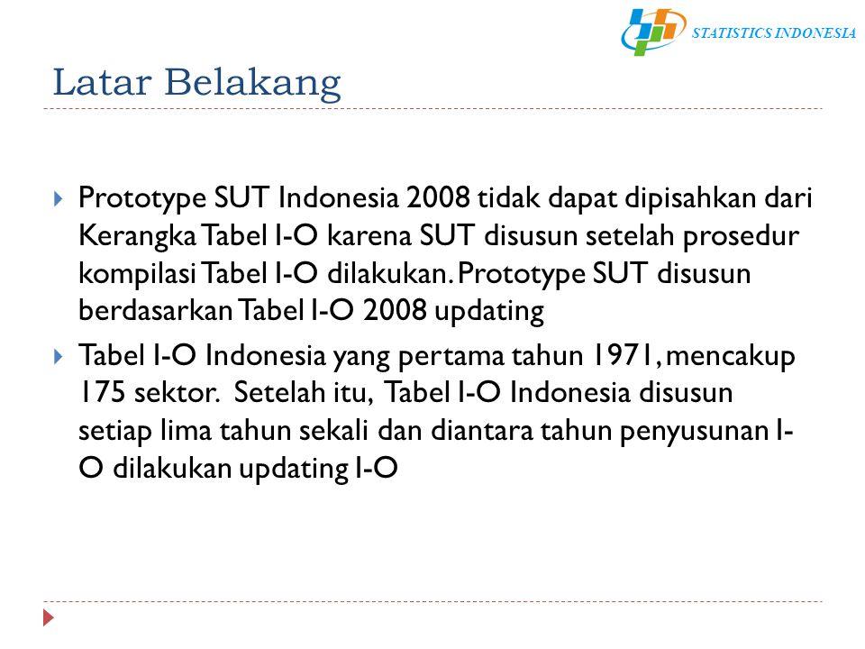 STATISTICS INDONESIA Latar Belakang  Prototype SUT Indonesia 2008 tidak dapat dipisahkan dari Kerangka Tabel I-O karena SUT disusun setelah prosedur