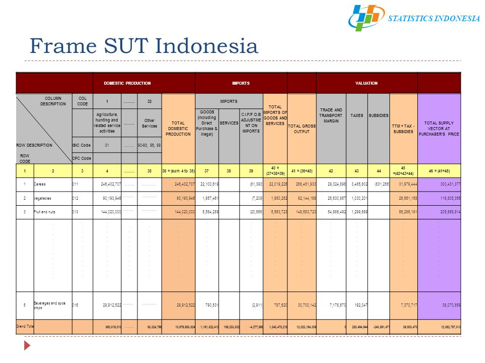 STATISTICS INDONESIA Frame SUT Indonesia DOMESTIC PRODUCTION IMPORTS VALUATION COLUMN DESCRIPTION COL CODE 1……….32 TOTAL DOMESTIC PRODUCTION IMPORTS T