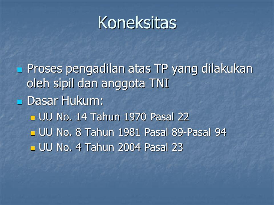 Koneksitas Proses pengadilan atas TP yang dilakukan oleh sipil dan anggota TNI Proses pengadilan atas TP yang dilakukan oleh sipil dan anggota TNI Das