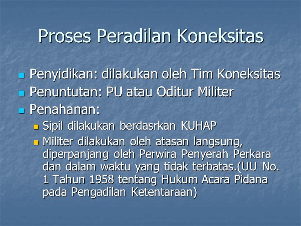 Proses Peradilan Koneksitas Penyidikan: dilakukan oleh Tim Koneksitas Penyidikan: dilakukan oleh Tim Koneksitas Penuntutan: PU atau Oditur Militer Pen
