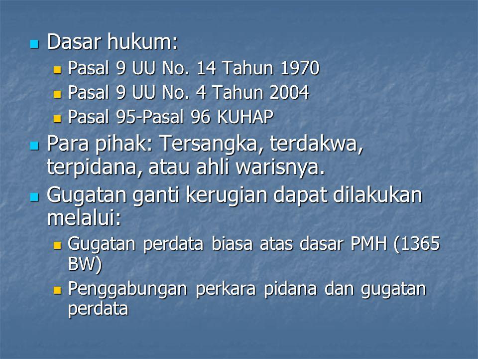 Dasar hukum: Dasar hukum: Pasal 9 UU No.14 Tahun 1970 Pasal 9 UU No.