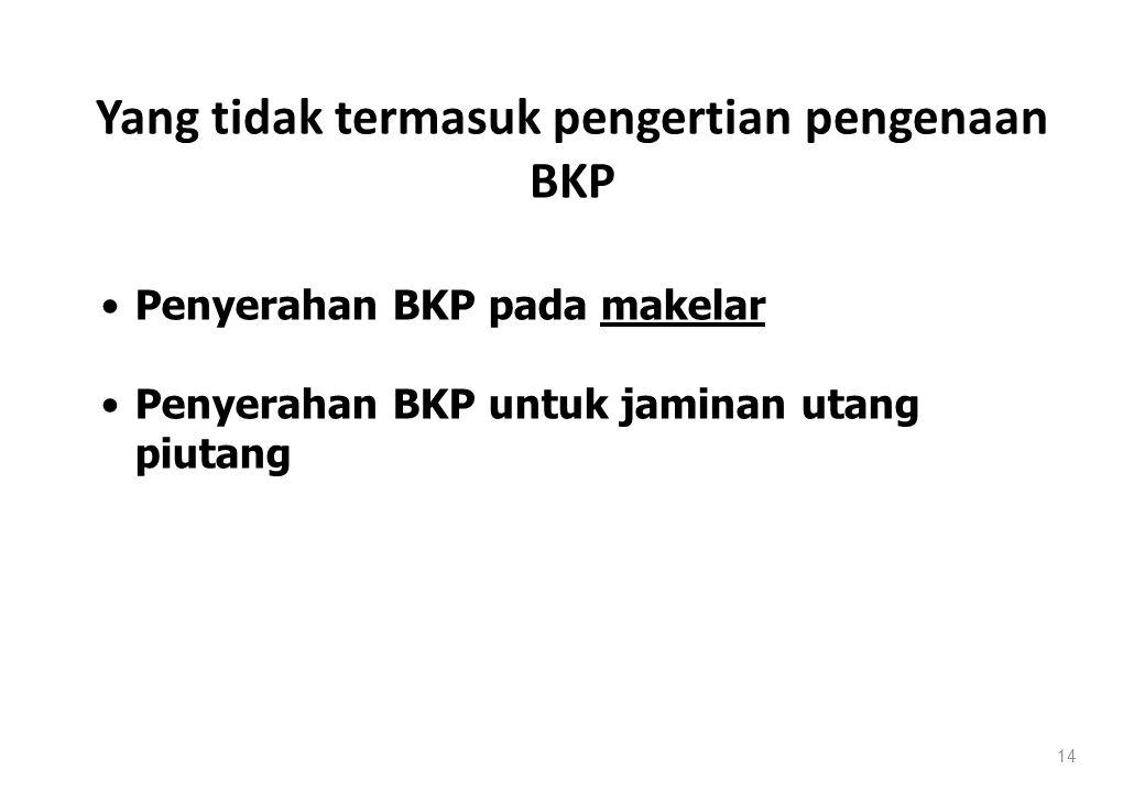 Yang tidak termasuk pengertian pengenaan BKP 14 Penyerahan BKP pada makelar Penyerahan BKP untuk jaminan utang piutang