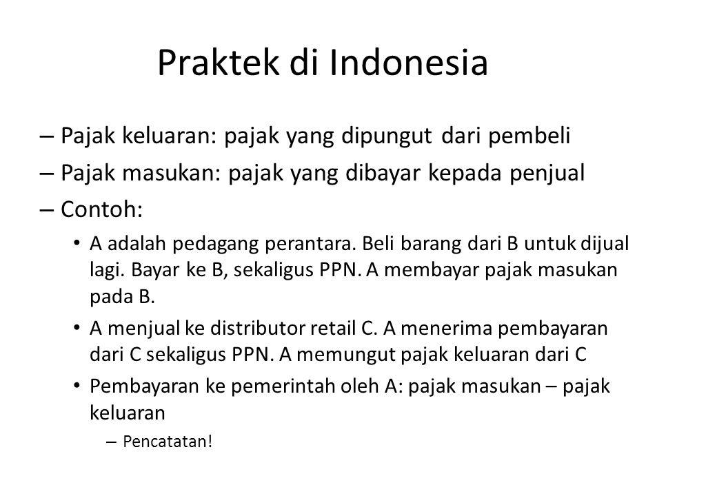Praktek di Indonesia – Pajak keluaran: pajak yang dipungut dari pembeli – Pajak masukan: pajak yang dibayar kepada penjual – Contoh: A adalah pedagang