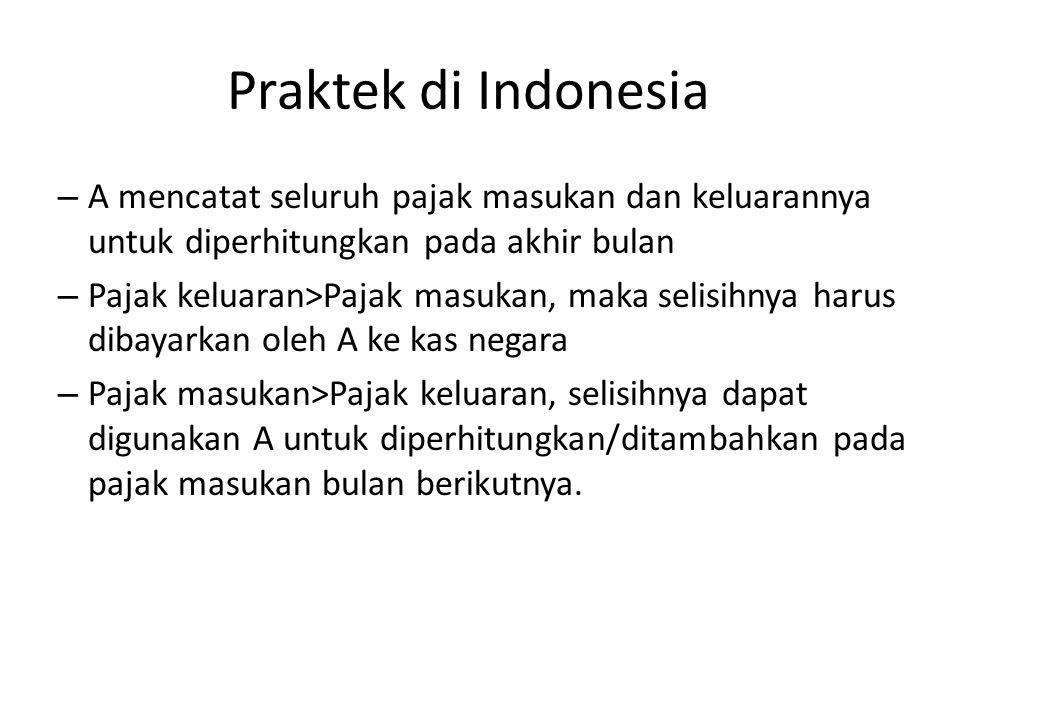 Praktek di Indonesia – A mencatat seluruh pajak masukan dan keluarannya untuk diperhitungkan pada akhir bulan – Pajak keluaran>Pajak masukan, maka sel