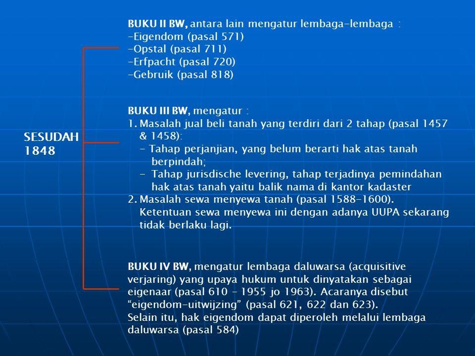 SESUDAH 1848 BUKU II BW, antara lain mengatur lembaga-lembaga : -Eigendom (pasal 571) -Opstal (pasal 711) -Erfpacht (pasal 720) -Gebruik (pasal 818) B