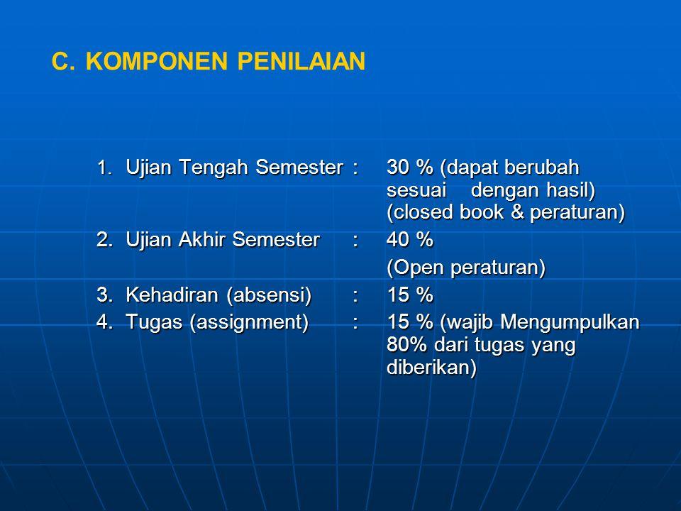 1. Ujian Tengah Semester:30 % (dapat berubah sesuai dengan hasil) (closed book & peraturan) 2.Ujian Akhir Semester:40 % (Open peraturan) 3.Kehadiran (