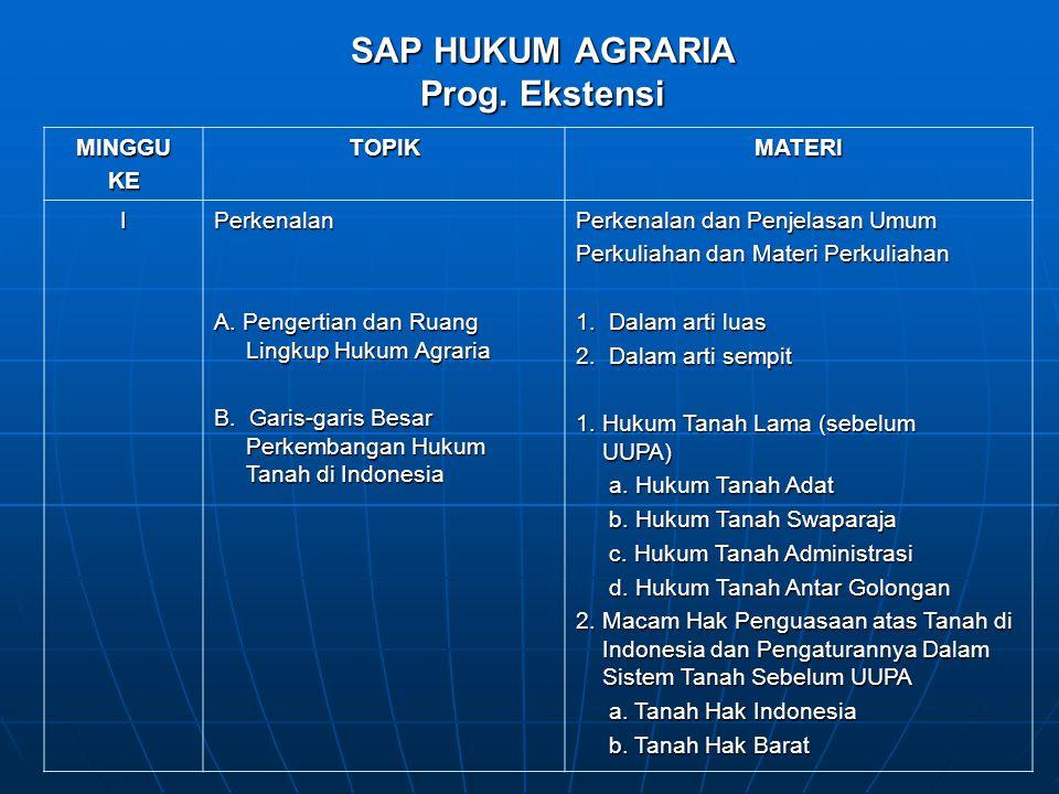 SAP HUKUM AGRARIA Prog. Ekstensi MINGGUKETOPIKMATERI IPerkenalan A. Pengertian dan Ruang Lingkup Hukum Agraria B. Garis-garis Besar Perkembangan Hukum