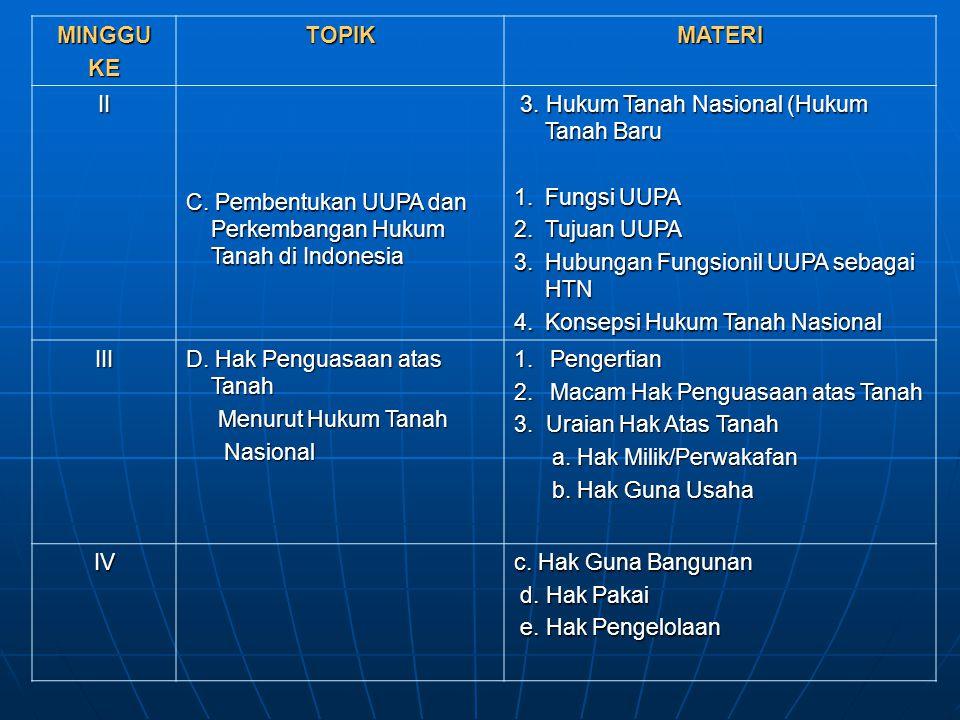 MINGGUKETOPIKMATERI II C. Pembentukan UUPA dan Perkembangan Hukum Tanah di Indonesia 3. Hukum Tanah Nasional (Hukum Tanah Baru 3. Hukum Tanah Nasional