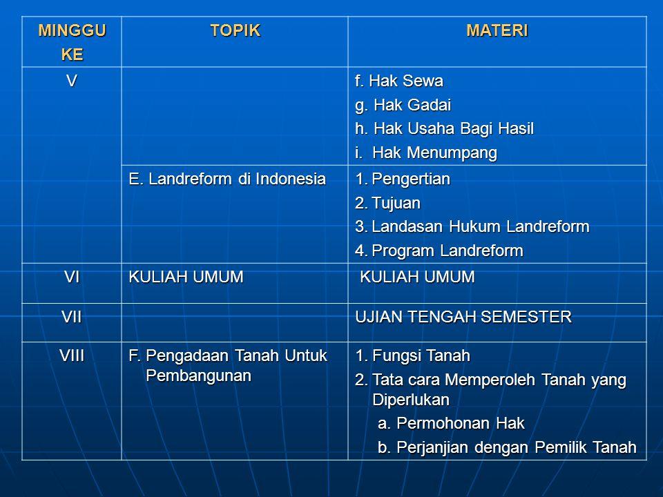 MINGGUKETOPIKMATERI V f. Hak Sewa g. Hak Gadai h. Hak Usaha Bagi Hasil i. Hak Menumpang E. Landreform di Indonesia 1.Pengertian 2.Tujuan 3.Landasan Hu
