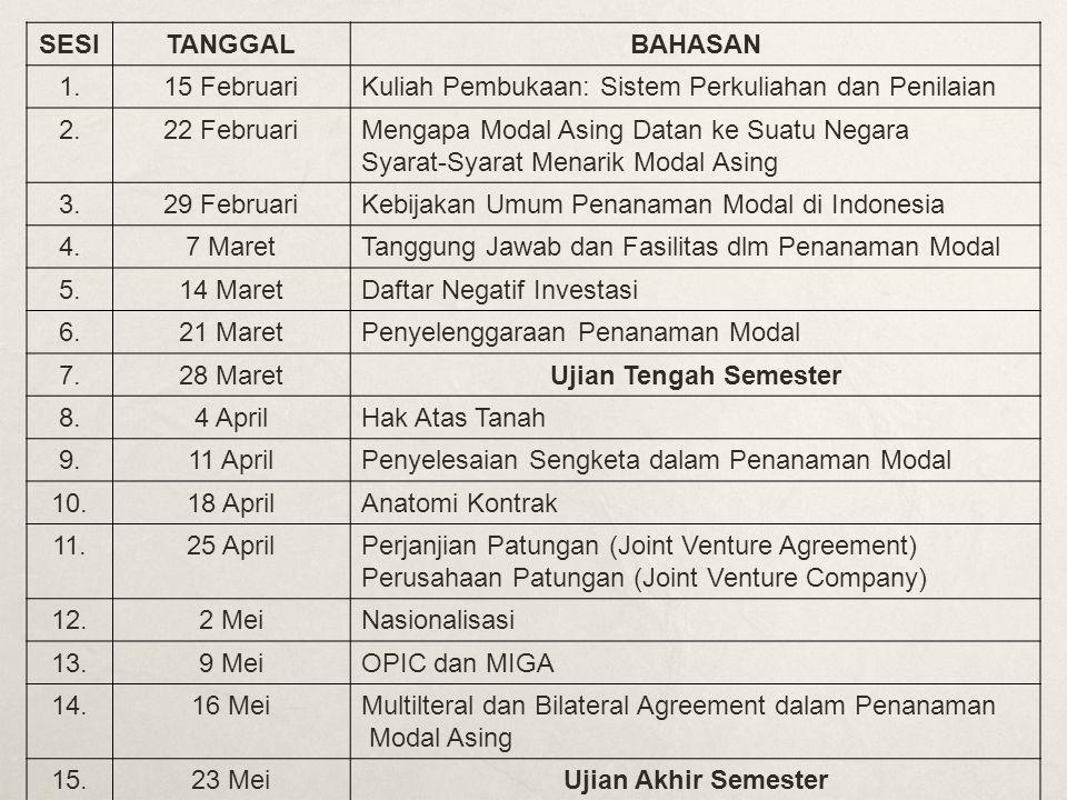 SESITANGGALBAHASAN 1.15 FebruariKuliah Pembukaan: Sistem Perkuliahan dan Penilaian 2.22 FebruariMengapa Modal Asing Datan ke Suatu Negara Syarat-Syarat Menarik Modal Asing 3.29 FebruariKebijakan Umum Penanaman Modal di Indonesia 4.7 MaretTanggung Jawab dan Fasilitas dlm Penanaman Modal 5.14 MaretDaftar Negatif Investasi 6.21 MaretPenyelenggaraan Penanaman Modal 7.28 MaretUjian Tengah Semester 8.4 AprilHak Atas Tanah 9.11 AprilPenyelesaian Sengketa dalam Penanaman Modal 10.18 AprilAnatomi Kontrak 11.25 AprilPerjanjian Patungan (Joint Venture Agreement) Perusahaan Patungan (Joint Venture Company) 12.2 MeiNasionalisasi 13.9 MeiOPIC dan MIGA 14.16 MeiMultilteral dan Bilateral Agreement dalam Penanaman Modal Asing 15.23 MeiUjian Akhir Semester