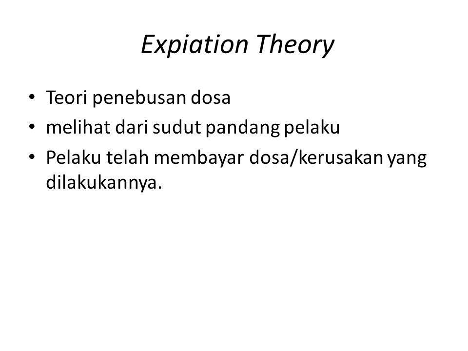 Expiation Theory Teori penebusan dosa melihat dari sudut pandang pelaku Pelaku telah membayar dosa/kerusakan yang dilakukannya.