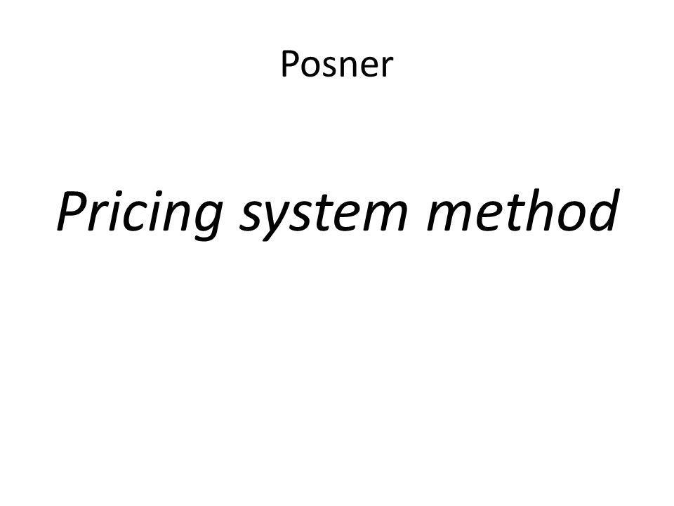 Posner Pricing system method
