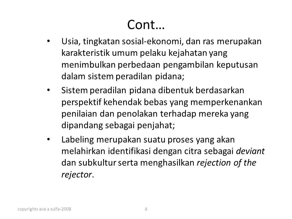 copyrights eva a zulfa-20084 Cont… Usia, tingkatan sosial-ekonomi, dan ras merupakan karakteristik umum pelaku kejahatan yang menimbulkan perbedaan pe
