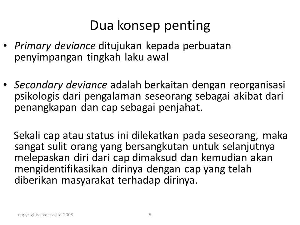 copyrights eva a zulfa-20085 Dua konsep penting Primary deviance ditujukan kepada perbuatan penyimpangan tingkah laku awal Secondary deviance adalah b