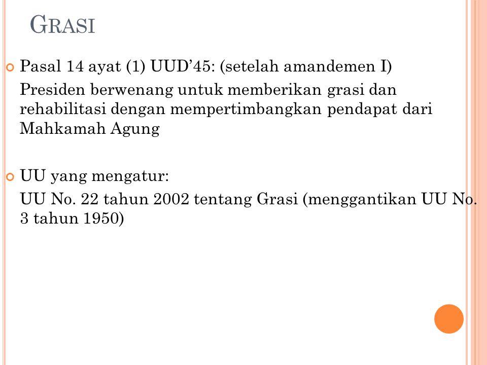 G RASI Pasal 14 ayat (1) UUD'45: (setelah amandemen I) Presiden berwenang untuk memberikan grasi dan rehabilitasi dengan mempertimbangkan pendapat dar