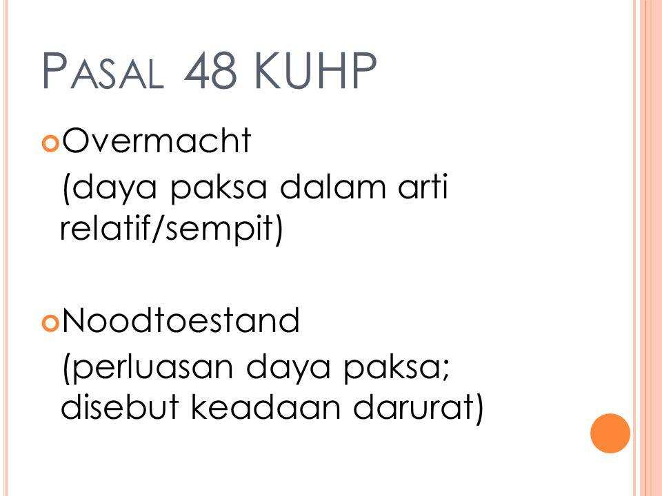 P ASAL 48 KUHP Overmacht (daya paksa dalam arti relatif/sempit) Noodtoestand (perluasan daya paksa; disebut keadaan darurat)