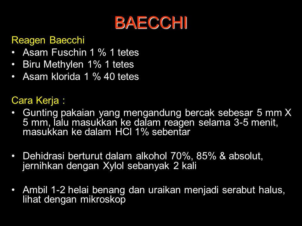 BAECCHI Reagen Baecchi Asam Fuschin 1 % 1 tetes Biru Methylen 1% 1 tetes Asam klorida 1 % 40 tetes Cara Kerja : Gunting pakaian yang mengandung bercak