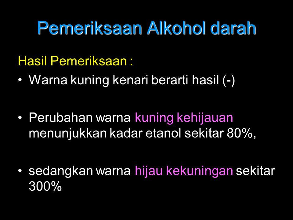 Pemeriksaan Alkohol darah Hasil Pemeriksaan : Warna kuning kenari berarti hasil (-) Perubahan warna kuning kehijauan menunjukkan kadar etanol sekitar