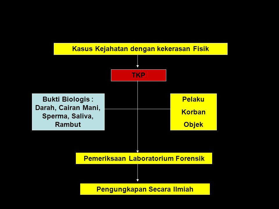 Pemeriksaan Laboratorium Kedokteran Forensik Darah Cairan mani dan Spermatozoa Golongan darah (darah, cairan mani, rambut, kuku, dan kerokan kuku) Gonokok Toksikologi DNA Dan Lain-lain