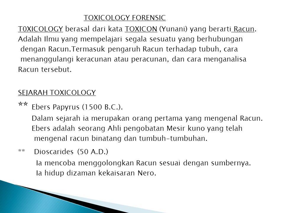TOXICOLOGY FORENSIC T0XICOLOGY berasal dari kata TOXICON (Yunani) yang berarti Racun. Adalah Ilmu yang mempelajari segala sesuatu yang berhubungan den