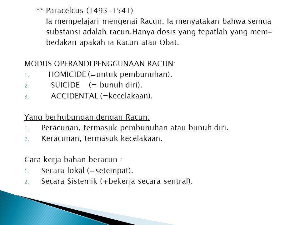 ** Paracelcus (1493-1541) Ia mempelajari mengenai Racun. Ia menyatakan bahwa semua substansi adalah racun.Hanya dosis yang tepatlah yang mem- bedakan