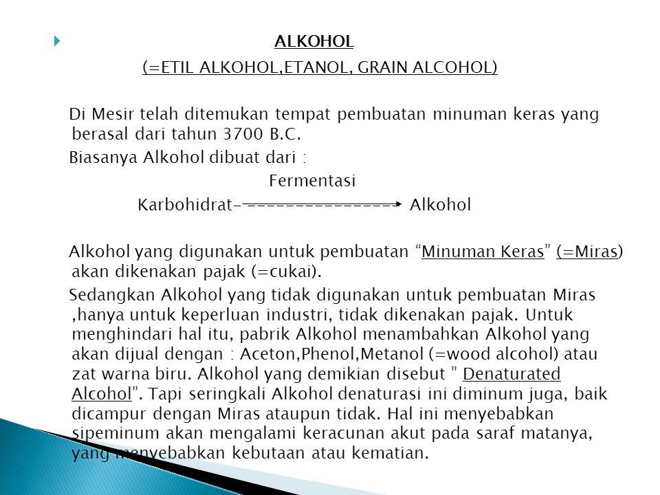  ALKOHOL (=ETIL ALKOHOL,ETANOL, GRAIN ALCOHOL) Di Mesir telah ditemukan tempat pembuatan minuman keras yang berasal dari tahun 3700 B.C. Biasanya Alk