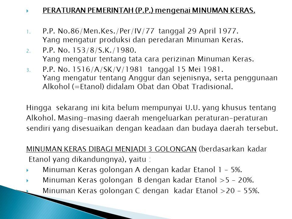  PERATURAN PEMERINTAH (P.P.) mengenai MINUMAN KERAS. 1. P.P. No.86/Men.Kes./Per/IV/77 tanggal 29 April 1977. Yang mengatur produksi dan peredaran Min