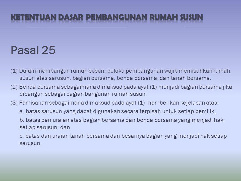 Pasal 26 (1) Pemisahan rumah susun sebagaimana dimaksud dalam Pasal 25 ayat (1) wajib dituangkan dalam bentuk gambar dan uraian.