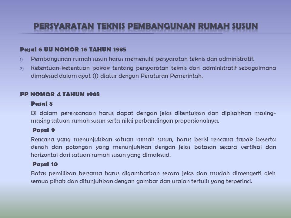 Pasal 6 UU NOMOR 16 TAHUN 1985 1) Pembangunan rumah susun harus memenuhi persyaratan teknis dan administratif. 2) Ketentuan-ketentuan pokok tentang pe
