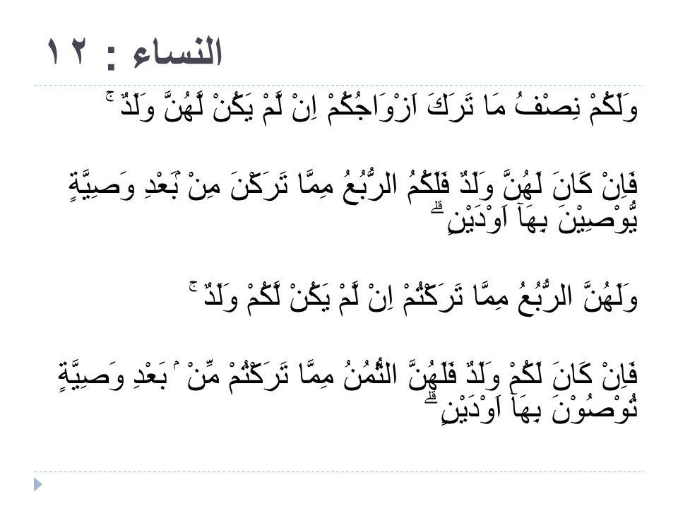 TERJEMAHAN QS AN NISA AYAT 12  Dan bagimu (suami-suami) seperdua dari harta yang ditinggalkan oleh isteri-isterimu, jika mereka tidak mempunyai anak.