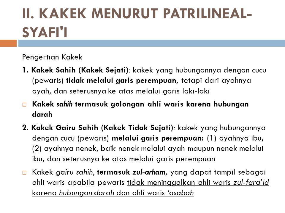 II.KAKEK MENURUT PATRILINEAL- SYAFI I Pengertian Kakek 1.