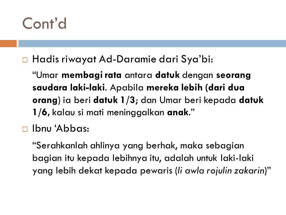 Cont'd  Hadis riwayat Ad-Daramie dari Sya'bi: Umar membagi rata antara datuk dengan seorang saudara laki-laki.