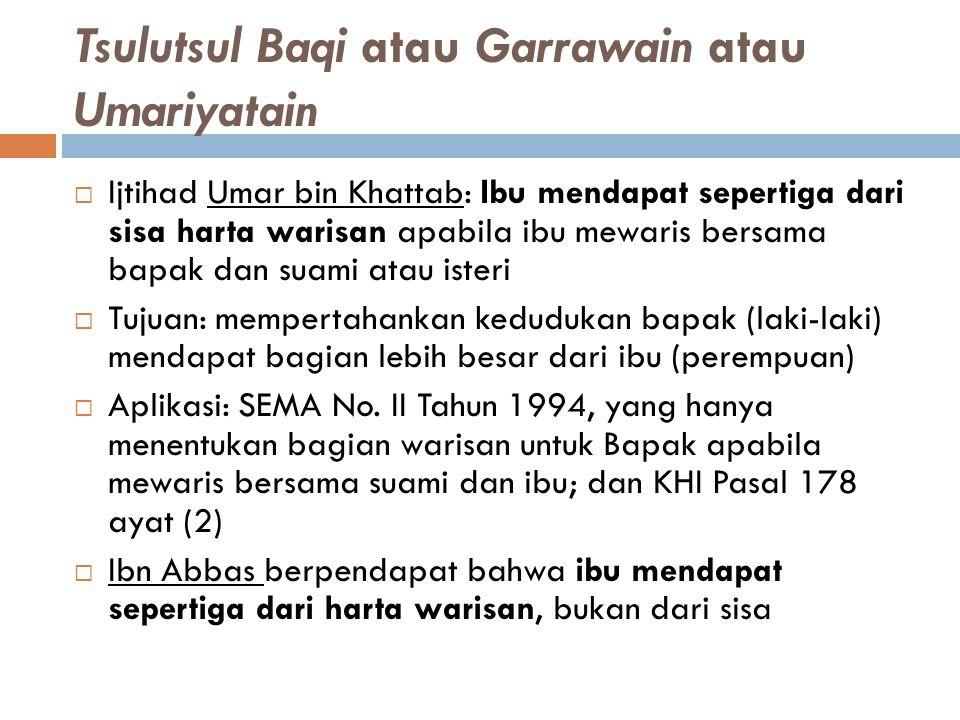 Tsulutsul Baqi atau Garrawain atau Umariyatain  Ijtihad Umar bin Khattab: Ibu mendapat sepertiga dari sisa harta warisan apabila ibu mewaris bersama
