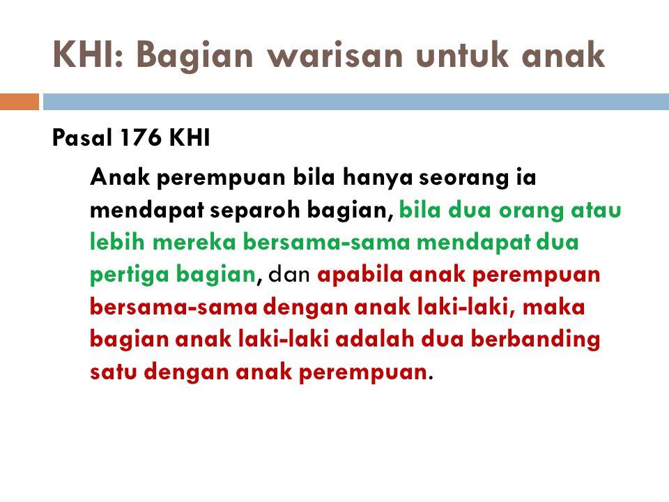 KHI: Bagian warisan untuk anak Pasal 176 KHI Anak perempuan bila hanya seorang ia mendapat separoh bagian, bila dua orang atau lebih mereka bersama-sa