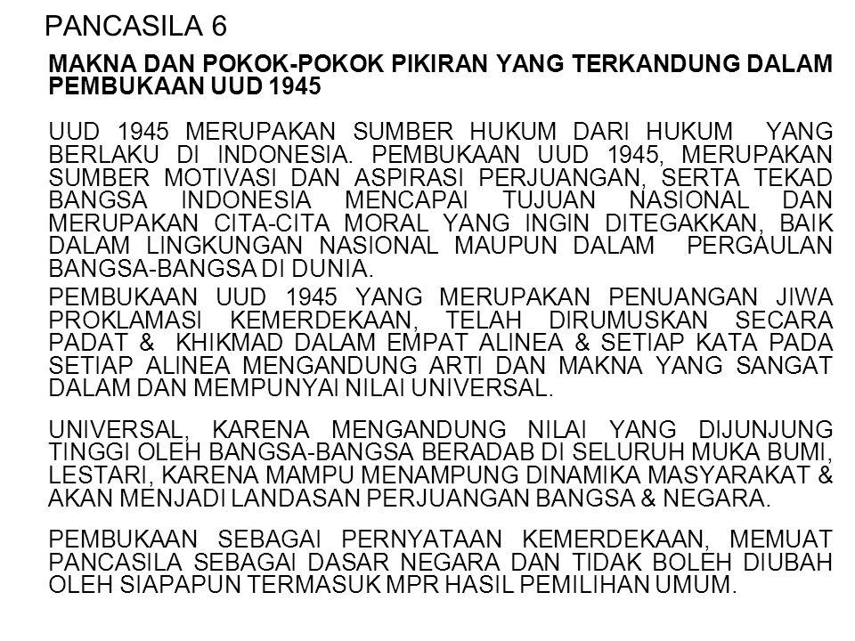 PANCASILA 6 MAKNA DAN POKOK-POKOK PIKIRAN YANG TERKANDUNG DALAM PEMBUKAAN UUD 1945 UUD 1945 MERUPAKAN SUMBER HUKUM DARI HUKUM YANG BERLAKU DI INDONESI