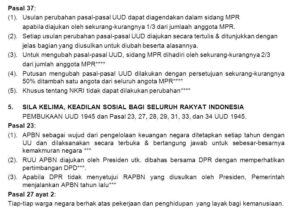 Pasal 37: (1).Usulan perubahan pasal-pasal UUD dapat diagendakan dalam sidang MPR apabila diajukan oleh sekurang-kurangnya 1/3 dari jumlaah anggota MP